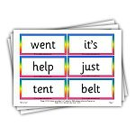 phase 4 word cards with rainbow borders